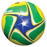 Ballon de soccer cuir synth. bleu, vert & jaune