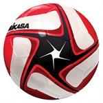 Ballon de soccer cuir synth. noir, blanc & rouge