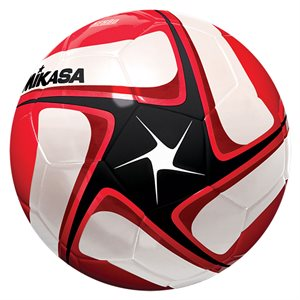 Synth. leather soccer ball, black, white & red