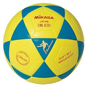 Ballon de soccer rev. cuir synth., #4, bleu / jaune