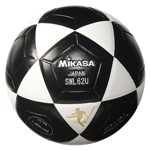 Ballon de soccer rev. cuir synth., #4, noir / blanc