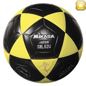Ballon de soccer rev. cuir synth., #4, noir / jaune